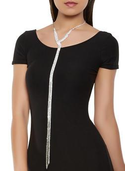 Long Rhinestone Fringe Necklace with Stud Earrings - 3123035156647