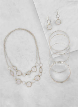 Layered Glitter Necklace with Bracelets and Earrings - 3123035156780