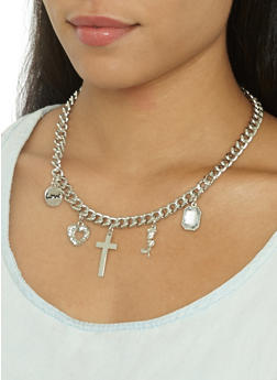 Metallic Charm Necklace and Bracelet with Stud Earrings - 3123035157722