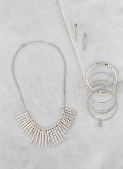 Metallic Stick Necklace with Bangles and Earrings - 3123035157796
