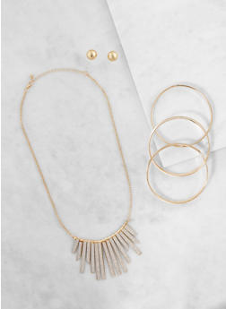 Glitter Stick Necklace with Bangles and Stud Earrings - 3123035157801