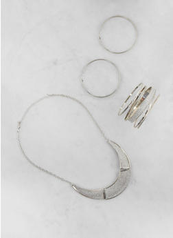 Glitter Metallic Necklace with Bangles and Earrings - 3123035157803