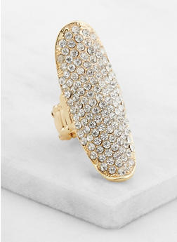 Long Rhinestone Studded Stretch Ring - 3123035157978