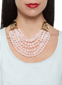 Beaded Layered Necklace with Bracelets and Earrings Set - 3123035158087