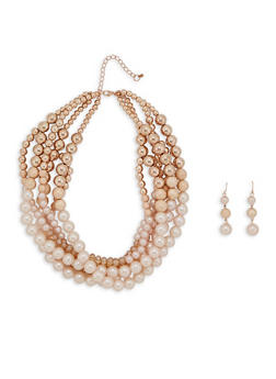 Faux Pearl Layered Necklace and Earrings - 3123035158701