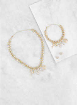 Charm Chain Necklace and Bracelet with Earrings - 3123035159294