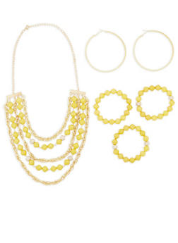 Beaded Necklace and Bracelets with Hoop Earrings - 3123035159574