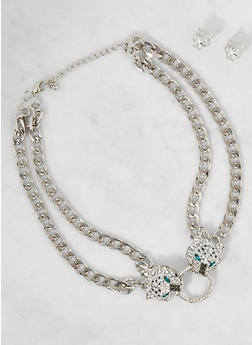 Double Chain Rhinestone Necklace and Stud Earrings - 3123035159717