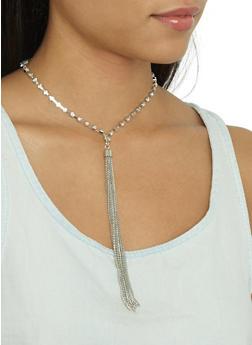 Rhinestone Tassel Necklace and Stud Earrings - 3123035159785