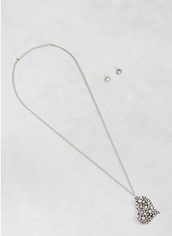 Rhinestone Heart Charm Necklace with Stud Earrings - 3123035159817