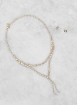 Rhinestone Necklace and Stud Earrings Set - 3123044091514