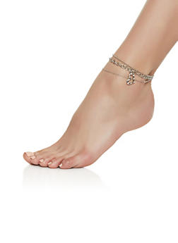 Set of 3 Heart Charm Anklets - 3123044093727