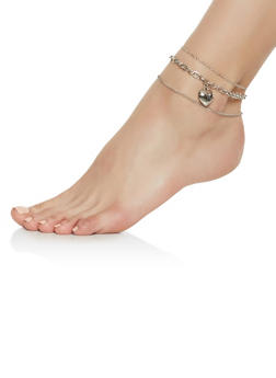 Set of 3 Heart Charm Anklets - 3123044093754