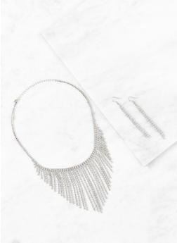 Rhinestone Metallic Fringe Necklace and Earrings - 3123044094299