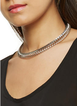 Coiled Collar Necklace with Cuff Bracelet and Hoop Earrings - 3123044098517