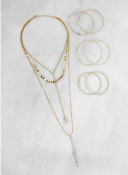 Glitter Charm Necklace with Hoop Earrings Set - 3123048631266