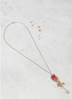 Cluster Charm Necklace with Stud Earrings Trio - 3123048632229