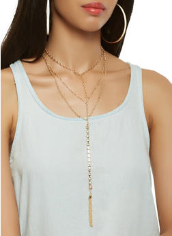 Layered Chain Necklace with Hoop Earrings - 3123048632362