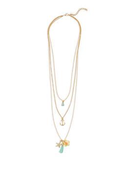 Starfish Tassel Charm Necklace - 3123048634223