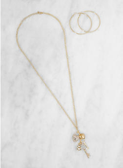 Long Charm Necklace with Hoop Earrings Set - 3123048635491
