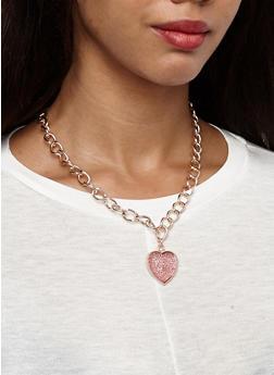 Metallic Necklaces and Stud Earrings Set - 3123057690141