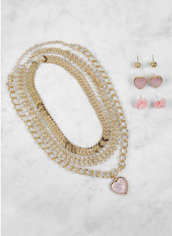 Metallic Necklaces and Stud Earrings Set - 3123057690141