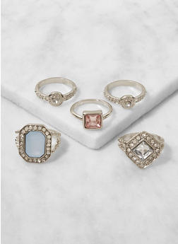 Set of 5 Assorted Metallic Rings - 3123057690406