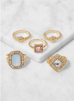 Set of 5 Assorted Metallic Rings - 3123057690406