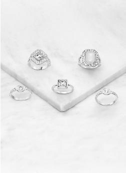 Set of 5 Rhinestone Gem Rings - 3123057690546