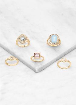 Set of 5 Rhinestone Gem Rings - 3123057690546
