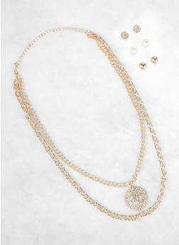 Rhinestone Circle Charm Necklace with Stud Earring Trio - 3123057691042