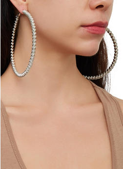 Oversized Hoop Earring Trio - 3123057691062