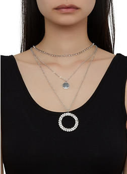 Layered Rhinestone Circle Necklace - 3123057691106