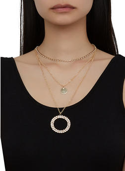 Layered Rhinestone Circle Necklace - 3123057691106