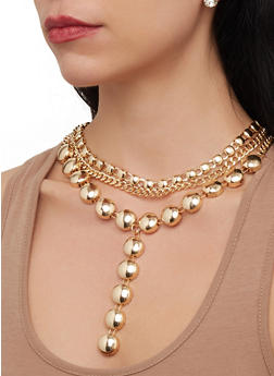 Metallic Layered Necklace with Rhinestone Stud Earrings - 3123057691815