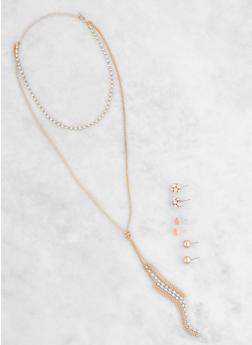 Rhinestone Layered Choker with Stud Earrings Set - 3123057692368