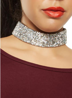 Rhinestone Choker with Stud Earrings - 3123057692829