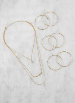 Layered Necklace with Hoop Earrings Set - 3123057693387