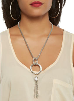 Metallic Mesh Charm Necklace with Hoop Earring Trio - 3123057694635