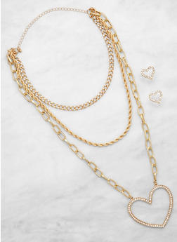 Large Rhinestone Heart Layered Necklace with Stud Earrings - 3123057694665