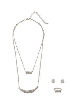 Layered Necklace with Ring and Stud Earrings Set - 3123057695909
