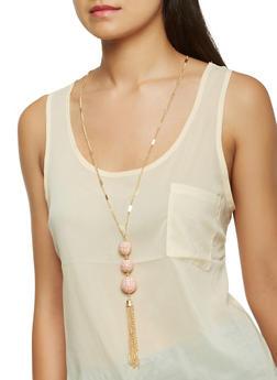 Long Tassel Necklace with Stud Earrings Set - 3123057695972