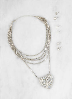 Heart Necklace with Stud Earrings Set - 3123057695993