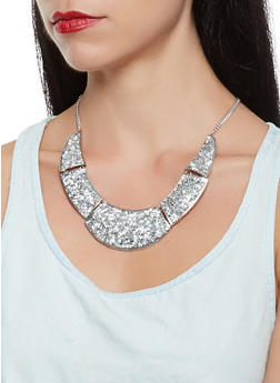 Rhinestone Studded Necklace with Earrings Set - 3123057696114
