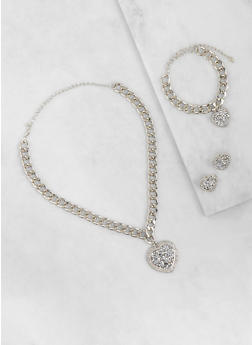 Druzy Heart Chain Necklace with Bracelet and Earrings - 3123057696115