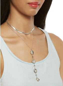 Layered Charm Choker with Stud Earrings - 3123057696289