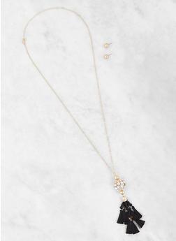 Tassel Necklace and Stud Earrings Set - 3123057696326