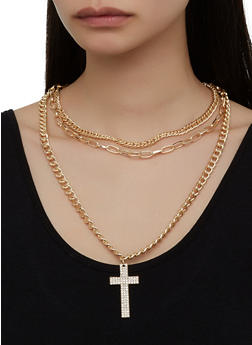 Rhinestone Cross Layered Chain Necklace and Earrings - 3123057696447