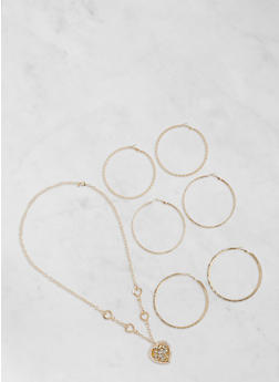Heart Charm Necklace with Hoop Earrings Set - 3123057697161