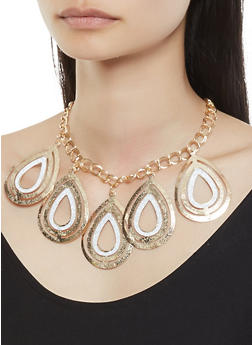 Glitter Teardrop Necklace with Bangles and Earrings - 3123057697338